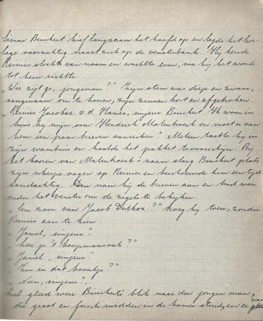 Handschrift van Hella Haasse. Fragment uit 'Het Huys met de Meermin' (Uit; Jong gedaan, Kinderwerk en beginnerswerk van 28 auteurs, Amsterdam, Querido, 1968).