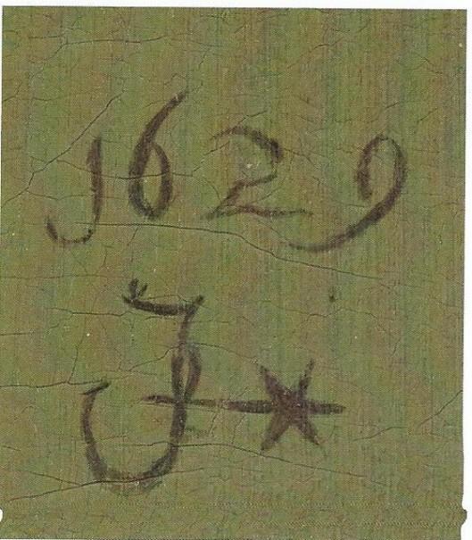 Monogram van Judith Leyster en jaartal 1629 op haar schilderij Pekelharing
