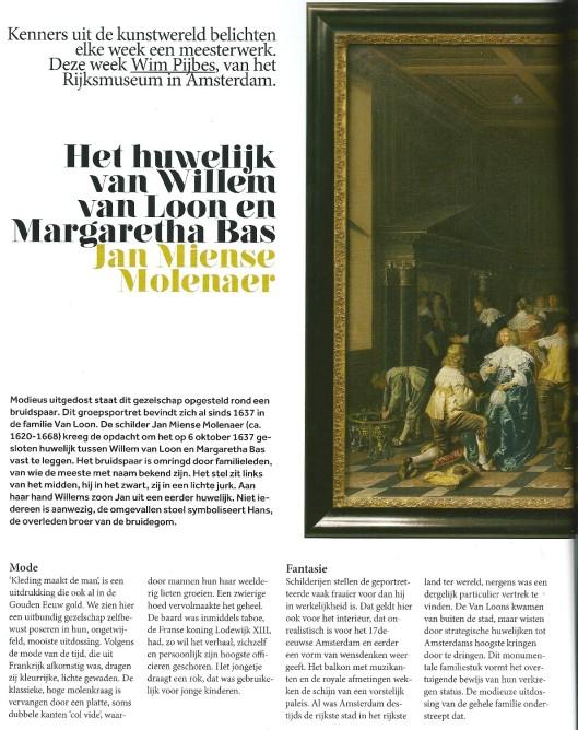 Jan Miense Molenaer: het huwelijk van Willem van loon en Margaretha Bas. Iit Volkskrant magazine, 30 maart 2013 (1)