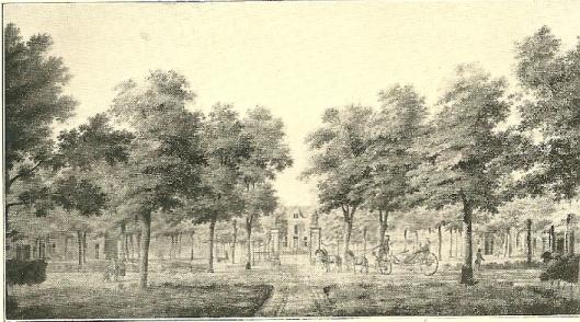 Voorzijde van Het Manpad met de Heerenweg in 1773. Tekening van Hendrik Keun.