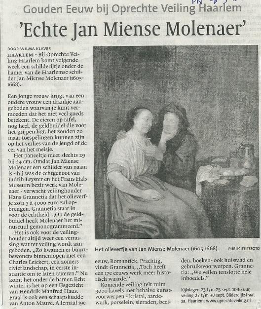 Bericht uit Haarlems Dagblad over veiling van paneeltje Jan Miense Molenaer van 27 september 2011