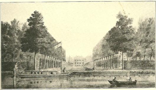 Huis te Manpad in 1773 door Hendrik Keun. Achterzijde vanaf de Leidsevaart met een trekschuit en roeiboot