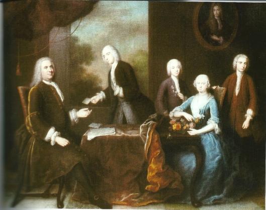 Familieportret De Neufville Van Lennep, door Balthasar Denner (1740). David van Lennep geheel rechts staande.