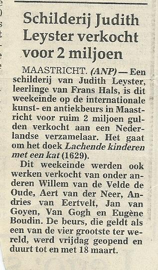 Bericht over verkoop schilderij Judith Leyster uit het Haarlems Dagblad van 15 maart 1990