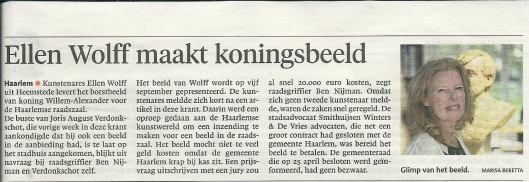 Ellen Wolff maakt koningsbeeld. Uit: Haarlems Dagblad van 14 mei 2013