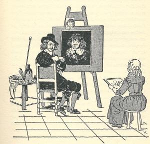 Illustratie van Jaap Veenendaal in het boek van Ro van Oven over Judith Leyster