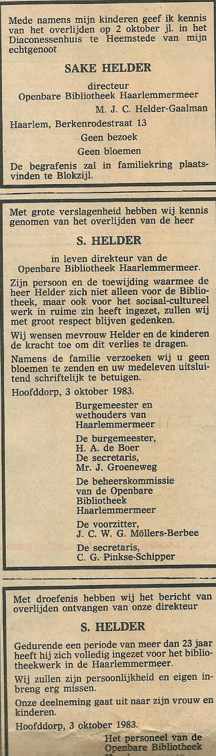 Uit: Haarlems Dagblad van 4 oktober 1983