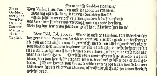 Passage uit originel 'Beschrijvinge ende lof der stad Haerlem' uit 1921 van Samuel Ampzing. De vierde regel met sterretje slaat op Judith Leyster