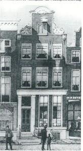 Het tweede pand Warmoesstraat 11, waar R.W.P.de Vries is geboren en waar de zaak van 1871 tot 1901 was gevestigd. Tekening van J.M.A.Rieke (collectie KVBB, Amsterdam)