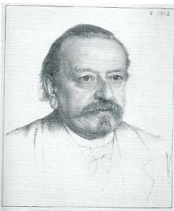 Gelithografeerd portret van R.W.P.de Vries door Jan Veth  (1902)