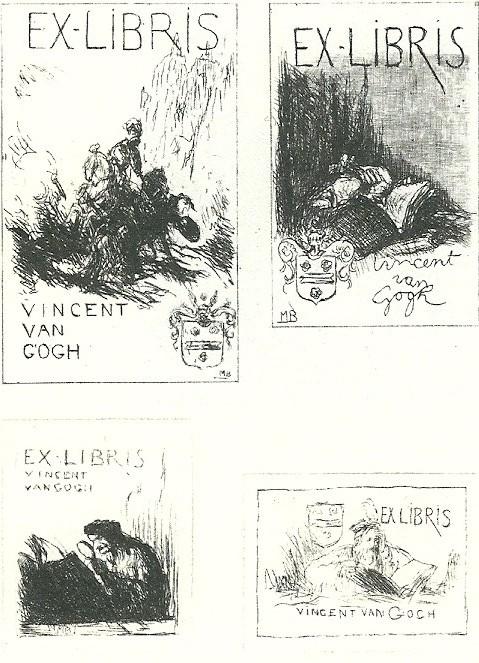 Vier exlibris van kunsthandelaar Vincent van Gogh; geëts door Marius Bauer (Uit: P.J.Buijnsters, Geschiedenis van de Nederlandse Bibliofilie)