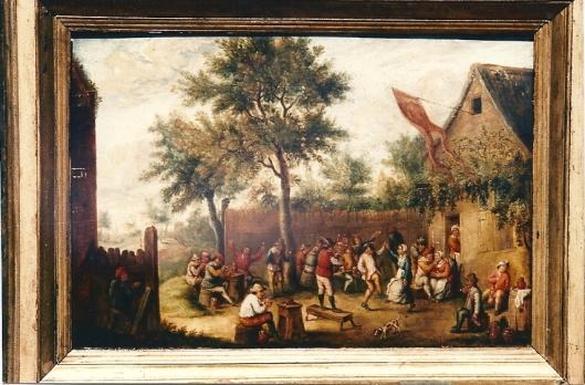 Jan Teniers: vrolijk tafereel van feestende mensen bij een herberg