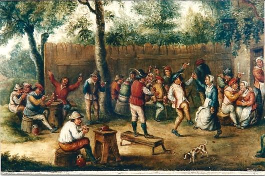Deatil van schilderij door David Teniers de Oude (1582-1649)