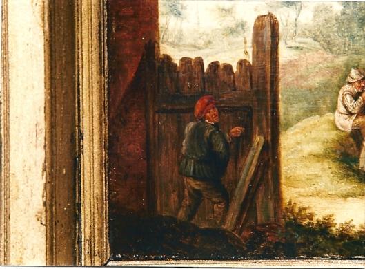 David Teniers: nog een detail uit het paneel van een plassende boer achter de schutting