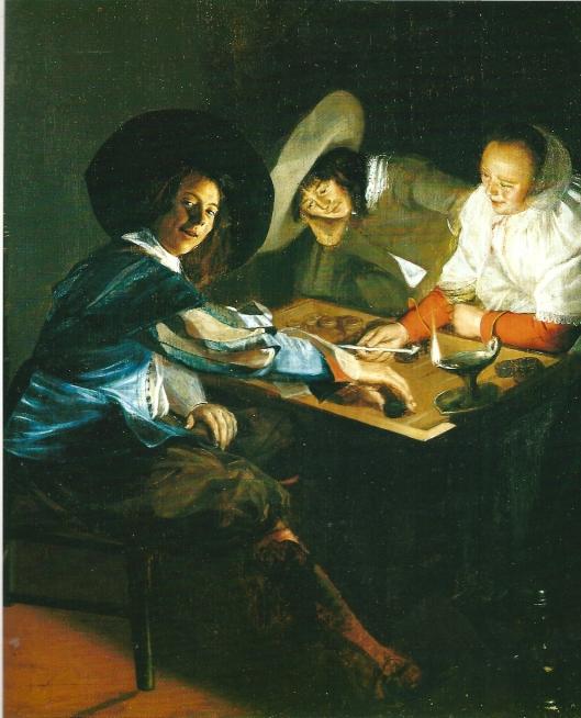 Judith Leyster: triktark spel.Ongedateerd. In bezit van Worchester Art Museum, USA. Het aanreiken van de pijp kan volgens Ineke Schwarz duiden op een seksuele avance.