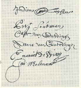 De handetekeningen uit een akte van 26 april 1655 van boven naar beneden: Judith Leyster, Petrus Sotman, Cesar van Everdingen, Allart van Everdingen, Emanuel de With en Jan Molenaer (Stadsarchief Amsterdam)