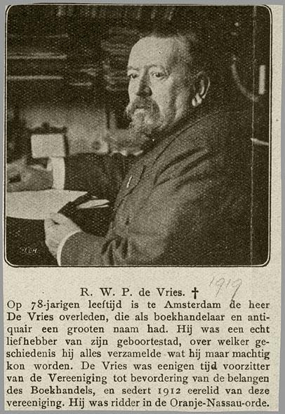 Overlijdensbericht van R.W.P.de Vries uit 1919