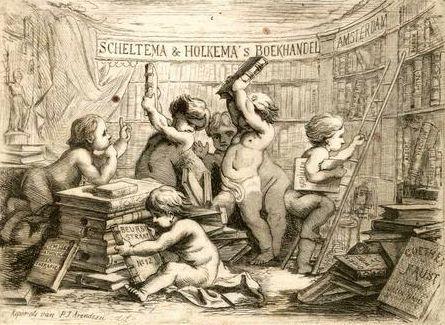 Adreskaartje van boekhandel Scheltema en Holkema, circa 1890; door P.J.Arendzen