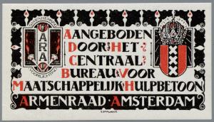 Exlibris Armenraad Amsterdam; ontworpen doot Elias Smalhout