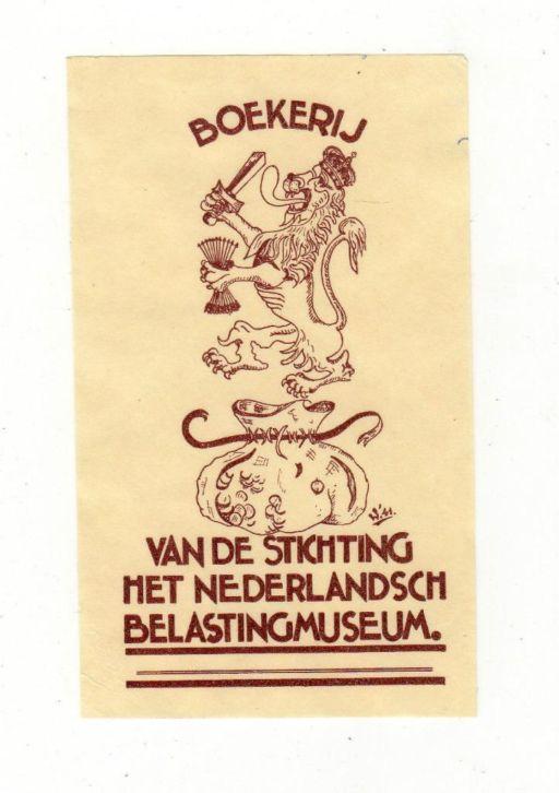Ex libris van de boekerij van het Nederlandsch Belasting Museum