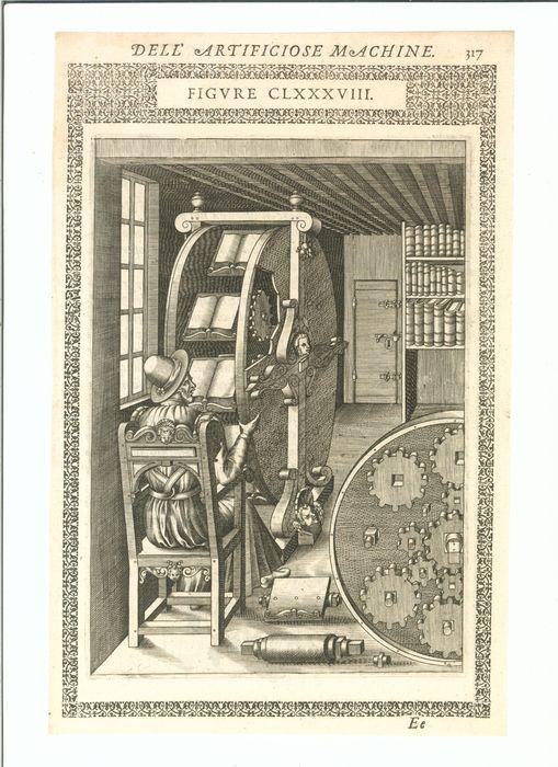 Boekenleesmachine. Gravure uit 'Le Divers et Artifiose Machine. Parijs, 1588. Gegraveerd oor Leonard Gaultier (1561-1641)