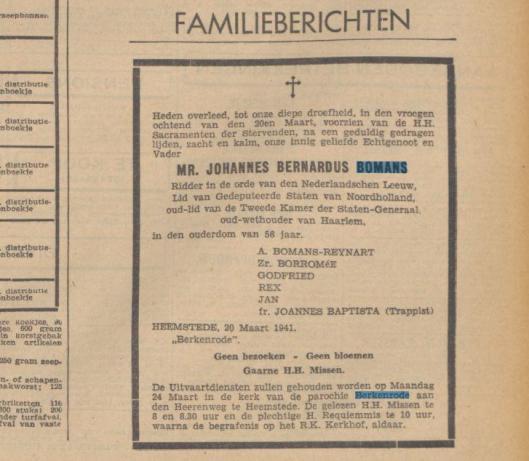 Overlijdensadvertentie mr.J.B.Bomans uit dagblad De Tijd van 20 maart 1941