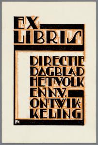 Exlibris directie dagblad Het Volk en n.v. Ontwikkeling; ontworpen door Fré Cohen (coll. Jaap van Velzen; Joods Historisch Museum)