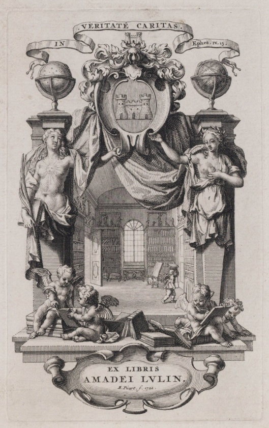 Ex libris voor Amadei Lulin; door etser Bernard Picard (1673-1733), 1722 (Teylers Museum Haarlem)