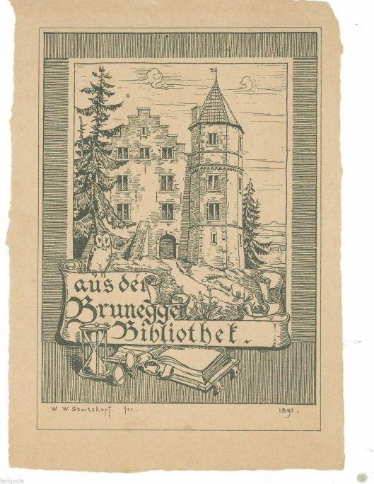 Exlibris van het kasteel van Brunegg in Zwitserland