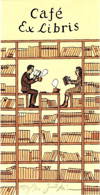 Exlibris van een boekencafé