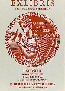Affiche van exlibris tentoonstelling in openbare bibliotheek Oost-Souburg (Vlissingen) in 1979 uit collectie J.J.Rhebergen