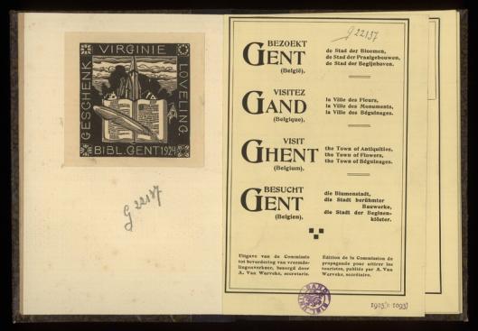 Bbliotheek Gent; geschenk door Virginie Loveling, 1924
