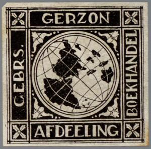 Ex libris boeken boekhandel Gebr. Gerzon, Amsterdam (coll. Jaap van Velzen)