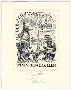 Nog een exlibris van wijlen Wim Gielen (1935-2000), wiens Reynard- collectie zich nu in de Conscience-erfgoedbiblotheek van Antwerpen bevindt