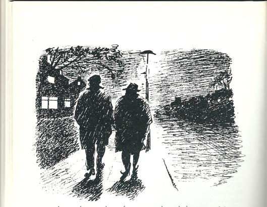 Anonieme tekening van Godfried Moas (links) met Lodewijk van Deyssel lopend op de Heemsteedse Dreef. (Uit een Coebergh-boekencatalogus)