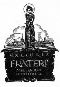 Exlibris Fraters Houthalen, vervaardigd door H.Korvers, 1945