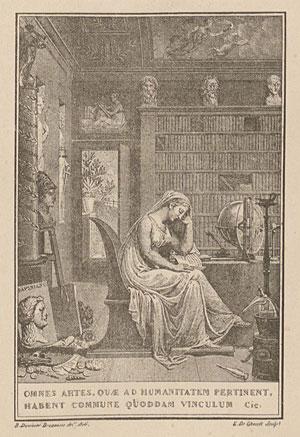 Exlibris van Karel van Hulthem (1764-1832). Met zijn enorme collectie boeken en handschriften legde hij de basis voor de Koninklijke Bibliotheek Albertinum in Brussel. Gravure door E. de Ghendt uit 1806