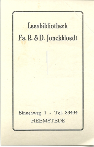 Leesbibliotheek R. & D. Jonckbloedt, Binnenweg, Heemstede