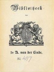 Ex libris schaakcollectie dr.A.van der Linde (Koninklijke Bibliotheek Den Haag)