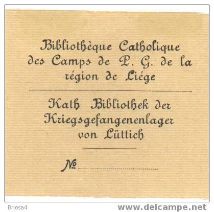 Ex libris Katholieke bibliotheek van Krijgsgevangenen in Luik