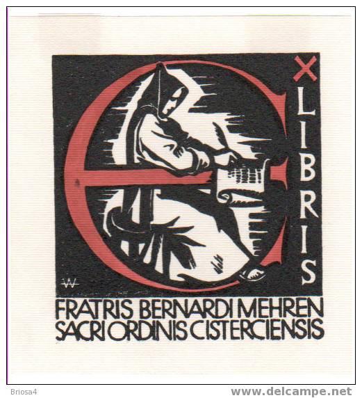 Exlibris abdijbibliotheek Cisterciënsers in Mehren