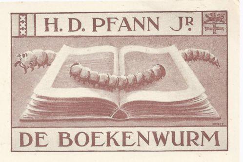 Ex libris H.D.Pfann Jr., antiquariaat/prentenhandel Amsterdam; ontworpen door Herman Misset, 1937