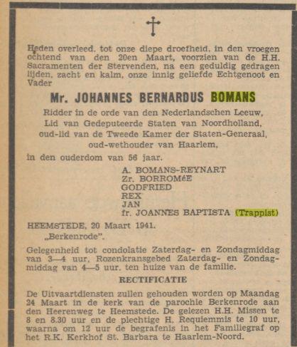 Een dag later verscheen deze rectificatie in de Tijd, nadat alsnog besloten is J.B.Bomans te begraven op het H. Barbara-kerkhof in Haarlem Noord- bij zijn overleden zoon