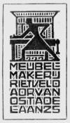 Ex libris meubelmakerij Rieveld, Utrecht; ontworpen door Gerrit Thomas, 1920