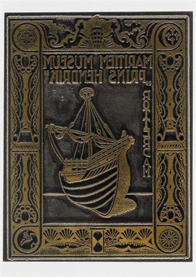 Exlibris Maritiem Museum Prins Hendrik, Rotterdam. Circa 1935