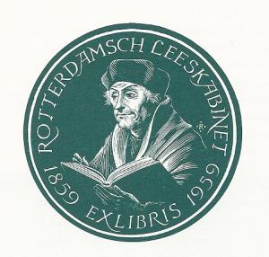 Rotterdamsch Leeskabinet met afbeelding van Erasmus. In 1959 vervaardigd bij gelegenheid van het 100-jarig bestaan door Pam G.Rueter