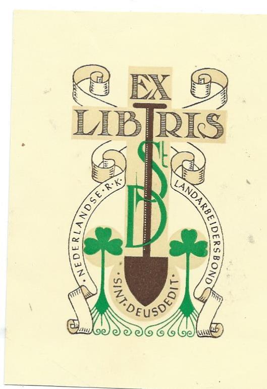 Ex libris R.K. Nederlandsche Landarbeidersbond Sint Deusdedit, Haarlem