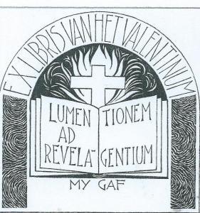 Ex libris van het Valentinum, ontworpen door P.J.Hamers (1909-1991)