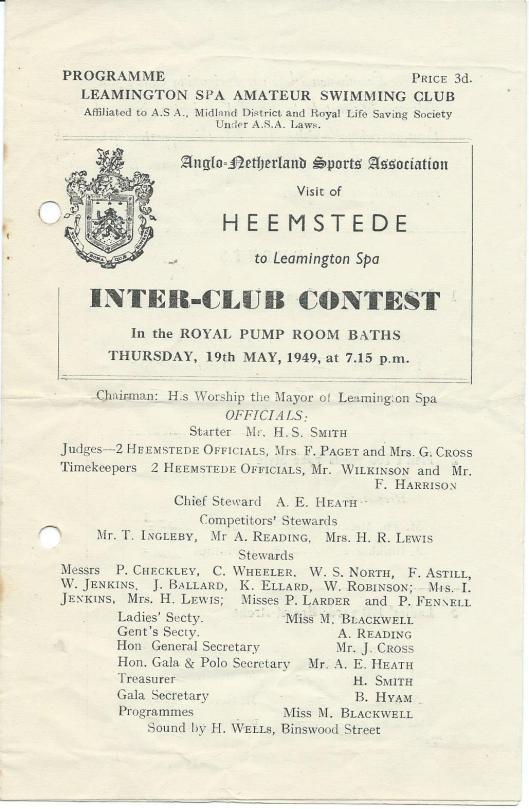 Zwemprogramma Leamington Spa-Heemstede 1949