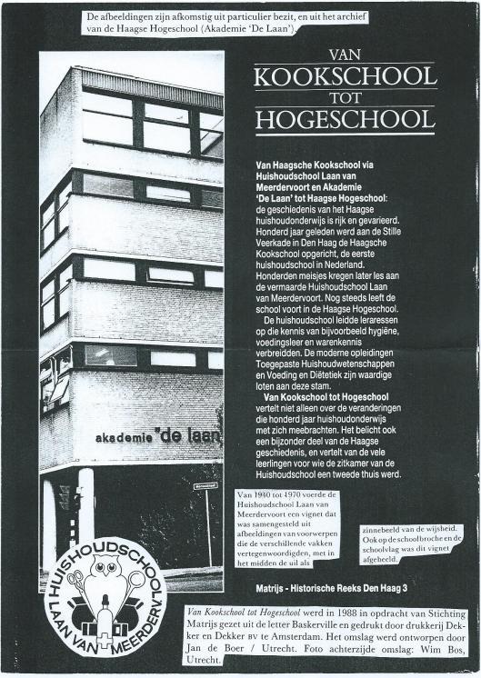 Boek 'Van kookschool tot hogeschool', Laan van Meerdervoort Den Haag